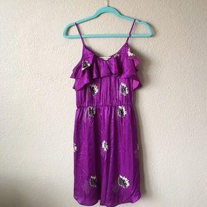 Rebecca Taylor magenta flower print slip dress